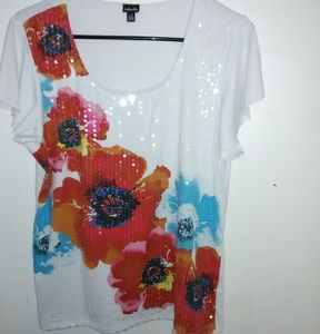 3 for $25 Sale Rafaella floral print sequined top.